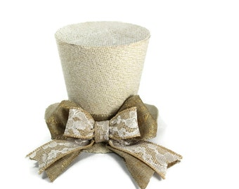 Rustic Christmas tree topper, Shabby Chic christmas decoration, tree topper, burlap tree topper, top hat tree topper New monogram option