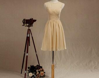 Champagne Bridesmaid Dress, Chiffon Bridesmaid Dress, Short Cheap Bridesmaid Dress, Chiffon Wedding Dress, Formal dress, Prom dress