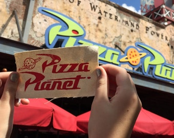 Pizza Planet-inspired screen-printed patch