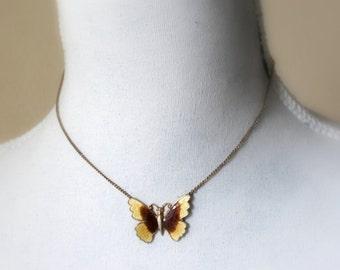 mustard butterfly necklace- autumn /winter