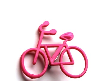 pink bicycle brooch- out of the box jewelry- rare brooch- plastic girl brooch