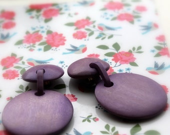 purple wood clip on earrings