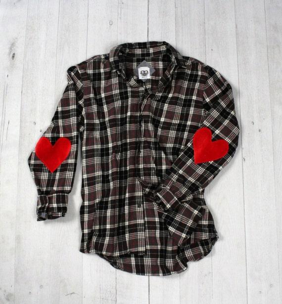 Velvet heart elbow patch flannel shirt sequin red boyfriend flannel
