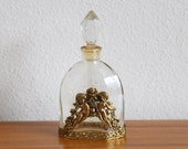 Vintage Globe 24kt Gold Plated Perfume Bottle Angels Cherubs Roses Flowers Filigree Antique Glass Crystal Finial Mid Century