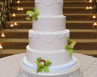 16 inch Ivory Pearl Diamond Wedding Cake Stand
