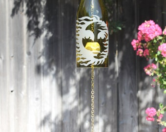Sunny Day Wine Bottle Windchime - Glass Bottle Wine Personalized Wedding Gift Eco Chimes Windcatcher Repurposed Windchime Sun Summer Chime