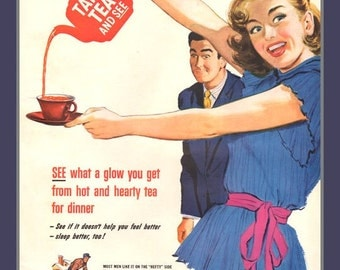 Fridge Magnet - Take Tea and See, vintage ad image from 1951