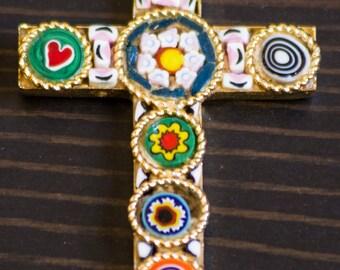 Beautiful Vintage Italian Mosaic Colorful Cross Pendant