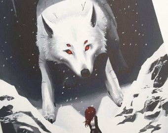 Maiden and Wolf - 8x10 fine art archival print, fantasy wolf, fantasy beast, fantasy art, wolf art, mythical wolf, mythology art, winter art