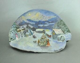 Tree Conk Handpainted OOAK Christmas Holiday Winter Scene Artist Signed Jackie Wells