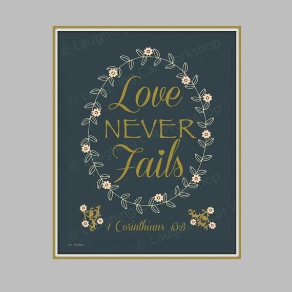 1 corinthians 13 8 print bible quote wall art love never. Black Bedroom Furniture Sets. Home Design Ideas