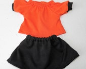 "Bitty Baby Clothes, girl twin 15"" doll, orange and black peasant knit t shirt & skirt, adorabledolldesigns handmade- special order - Linda"