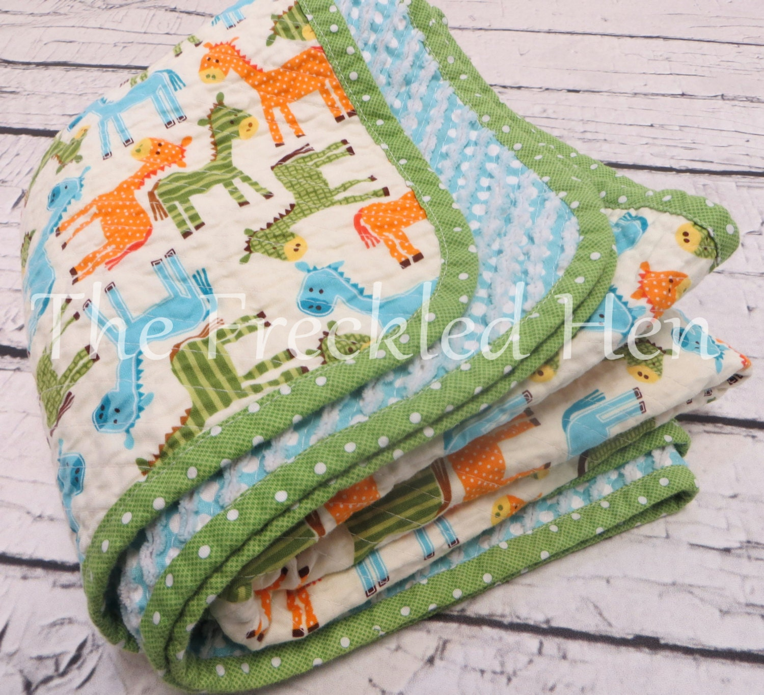Baby Quilts Handmade Faux Chenille Hand Made Baby Boy Blanket