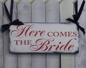 Here Comes the BRIDE Sign/Wedding Sign/Photo Prop/U Choose Colors/Great Shower Gift/Coral/Navy/Reversible Options/Wood Sign/Fast Shipping