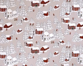 Christmas tablecloth beige Red Houses Elfs white Christmas trees Snow flakes MOISTURE RESISTANT Scandinavian , napkins runner , great GIFT