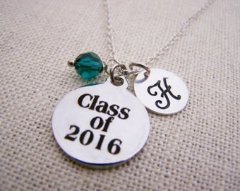 Class of 2016 Necklace - Swarovski Birthstone Initial Personalized Sterling Silver Necklace / Graduation Gift - Gift for Her