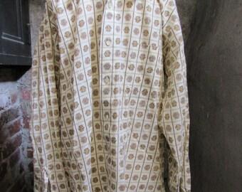 60s Floral Kentfield Charisma Long Sleeve Shirt, M // Vintage Hippie Dress Shirt
