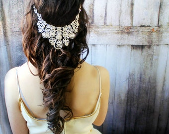 Bridal Headpiece, Wedding Headpiece, Bridal Hair Accessory Head Chain, Wedding Headband /SALE