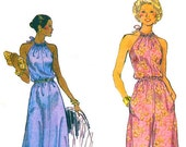 Vogue 9225 Retro 1970s Disco Style Halter Evening Dress or Bell Bottoms Pantsdress Sewing Pattern Sz 10