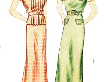 Simplicity 1953 Misses' Vintage 1930s One or Two Piece Dress Sewing Pattern