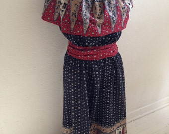 Handmade Peasant Dress with Deep Ruffle Neck and Matching Skirt Border, Bust 36 inches