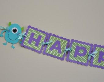 Girly Monster Bash Banner, Girly Monster Happy Birthday Banner, Girly Monster Party Banner