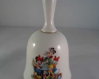Grolier Porcelain Christmas Hand Bell, 1992 The Walt Disney Company Limited Edition Minnie, Daisy and Clarabelle, Vintage Christmas Cookies