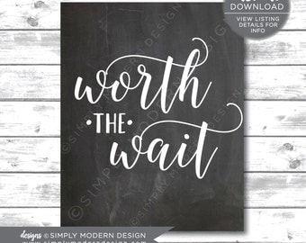 worth the wait, adoption, rainbow baby, nursery decoration, wall decor, chalkboard, sign, nursery wall art, instant download, printable