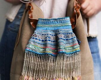 Hmong Bag, Leather Shoulder Bag, Bag, Beige Suede And Leather Bag, Suede Leather Bag, Tribal Bag, Shoulder Bag, Hippie Bag, Boho Bag, Hippie