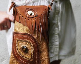 Brown And Gold Leather Shoulder Bag, Leather Bag, Brown Leather Bag, Gold Leather Bag, Hippie Bag, Boho Bag, Tribal Bag, Ethnic Bag, Hippie