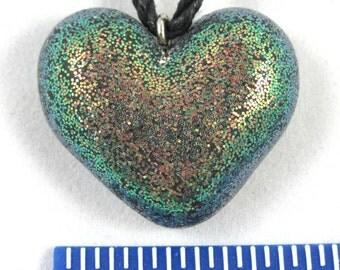 Bronze Green Glitter Heart Necklace