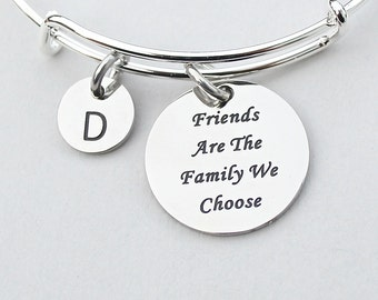 "Stainless Steel Charm "" Friends Are The Family We Choose ,"" Personalize, Charm Bangle, Initial, Best Friends, Bestfriend, Besties, ST"
