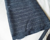 Charcoal Gray + White pinstriped textile minimalist modern Throw Blanket