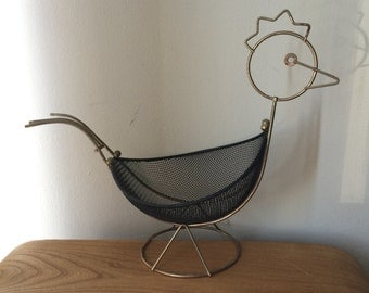 Vintage Brass Metal Rooster Fruit Basket with Wire Body