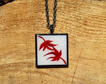 Real Japanese Maple Leaf Pendant Necklace Original Botanical Art Pressed Flower Resin Jewelry