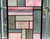 Pink Geometric Stained Glass Window Panel - Modern - Privacy Screen - Garden Decor - Abstract Art - Pink Gray White - Princess