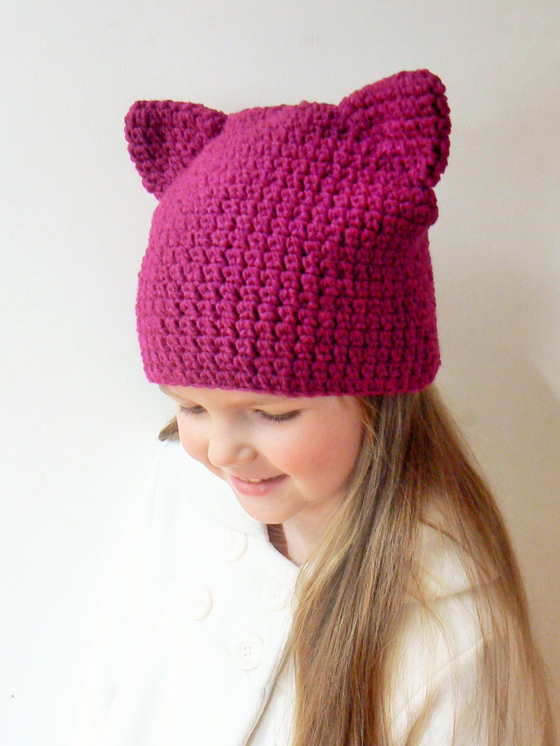 Cat Ears Hat Cat Beanie Pink Cat Hat Crochet Cat Hat Kitty