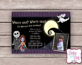 Personalized The Nightmare Before Christmas Birthday Party Invitation- Sally, Jack and Zero- Bridal, Baby, Wedding, Shower