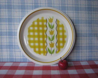 Mikasa Salad Plate - 8 Inch - Country Gingham - Maize C 7301 - Yellow Check - Tulip - Mid Century Vintage 1970's