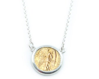 Gold Coin Necklace - Nike - Goddess of Victory - 925 Sterling Silver- 18k GP - great layering necklace