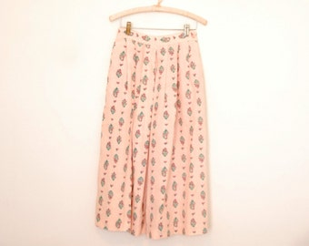 Pink Floral Print Midi Skirt - 1980s