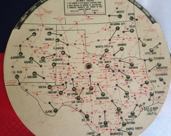 Dist O Map for Texas travels and borders Are We There Yet mileage calculator wheel