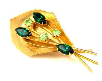 Emerald Green Rhinestone Flower Bouquet Brooch