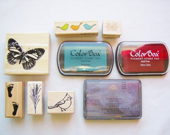 9 Piece stamp supplies - stamp craft supplies - stamping scrap booking supplies - pigment ink stamp pads - rubber stamps - butterfly birds