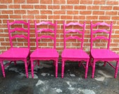 Magenta Chairs, Custom Color Dining Chairs, Set of 4, Vintage chairs, Kitchen Chairs (Los Angeles)