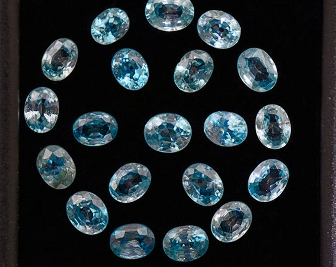 FLASH SALE Stunning Electric Blue Zircon Gemstone Set from Cambodia 7.82 tcw.