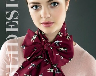 Boston Terrier Bow Scarf, Claret Red Headband, Thin Scarf, Hair scarf, Neck Bow, Head Wrap, Free shipping with another item!