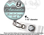 Retractable Badge Reel - Chevron Radiology Tech Badge Holder - Choice of Badge Reel, Stethoscope ID Tag, Carabiner or Lanyard - 0938