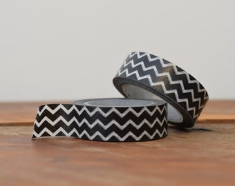 Washi Tape Black and White Chevrons 35mm, Black and White Zig Zags, Geometric Pattern Washi Tape, Gift Wrap Packaging Supplies