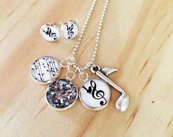 Music Pendants Resin Silver Necklace and or earrings